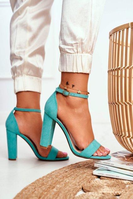 Dámske Sandále na podpätku Semišové zelené Anastasie
