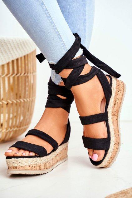 Dámske Sandále na vysoké podrážce čierne La Favorite