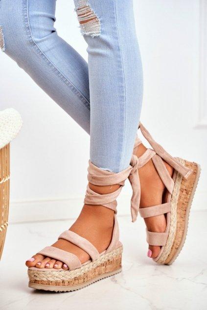 Dámske Sandále na vysoké podrážce Béžové La Favorite