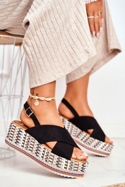 Dámske Sandále Semišové čierne Sandy