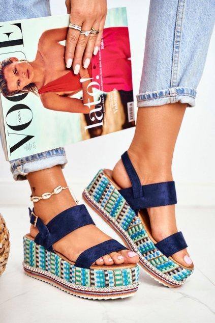 Dámske sandále na platforme farba modrá kód obuvi 1311 NAVY