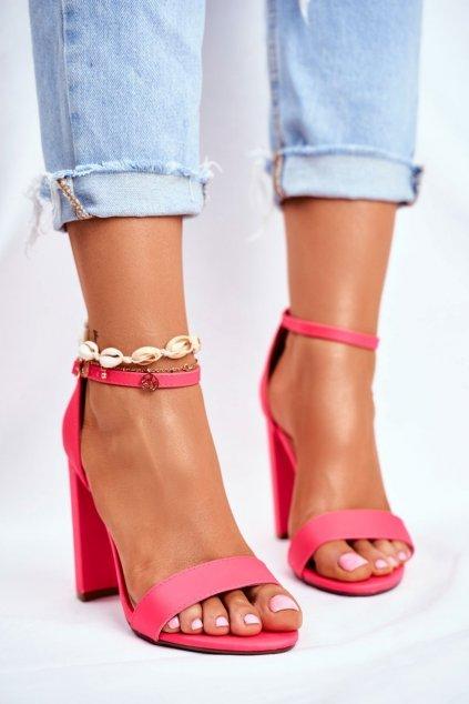 Dámske Sandále na podpätku Semišové neonove ružové Anastasie