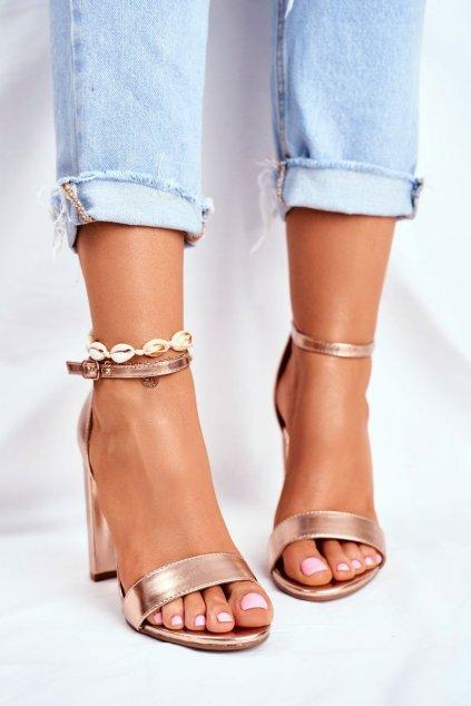 Dámske Sandále na podpätku Semišové ružovo zlaté Anastasie