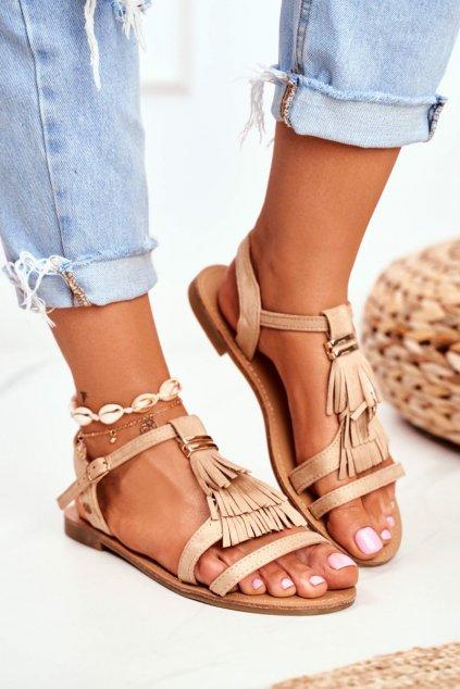 Dámske Sandále ploché Eko-semišové Boho Béžové Lucami