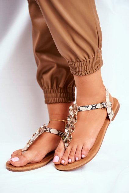 Dámske ploché sandále farba hnedá kód obuvi LS-76 BEIGE