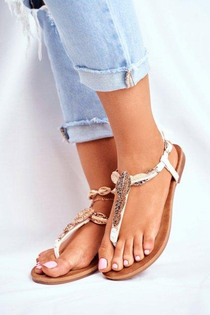 Dámske ploché sandále farba biela kód obuvi LS-77 WHITE