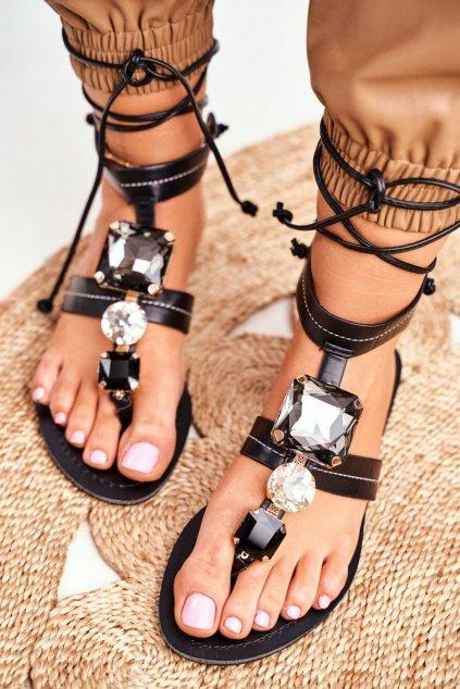Dámske ploché sandále farba čierna kód obuvi JH126 BLK