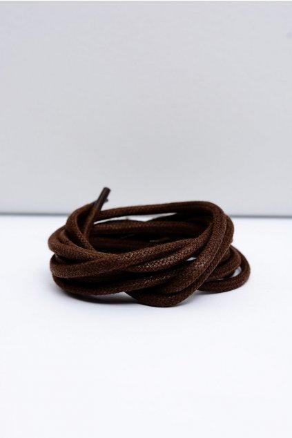 Šnúrky do topánok farba hnedá kód Okrągłe grube wosk ciemny brąz
