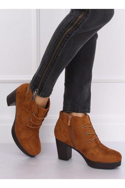 Dámske členkové topánky hnedé na širokom podpätku kód 8B883