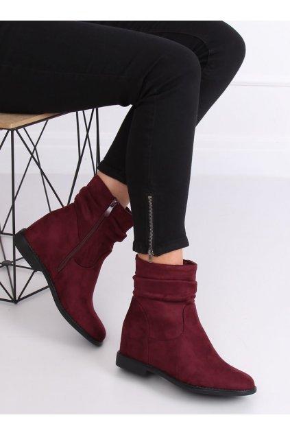 Dámske členkové topánky červené na platforme kód 2C8AX7680-1