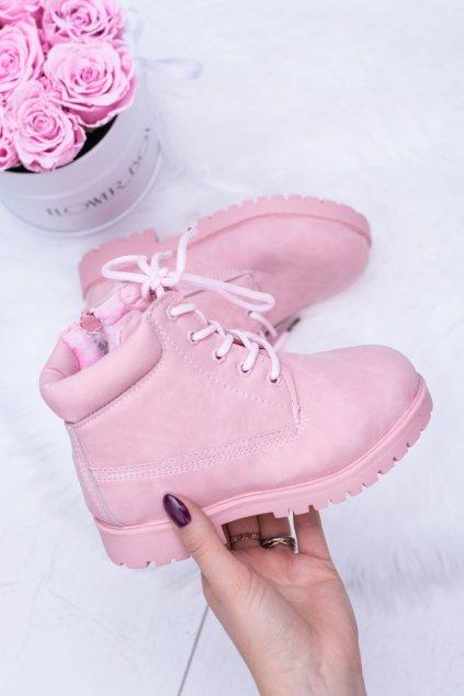 Púdrovo ružové teplé detské topánky Traper Dexter kód 20306-C PINK