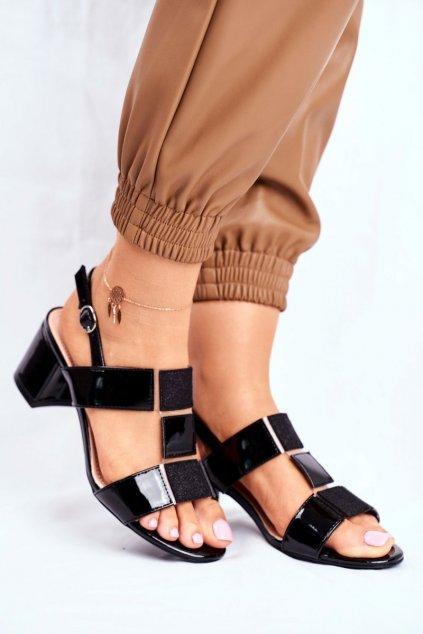 Dámske sandále na podpätku farba čierna kód obuvi SK910 BLK LAC