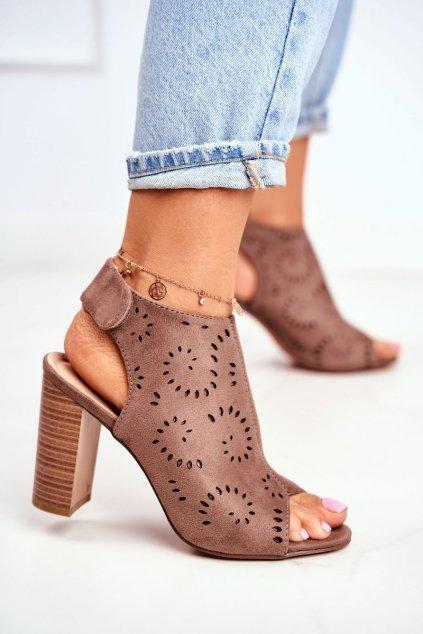 Dámske Sandále na podpätku Khaki Rules