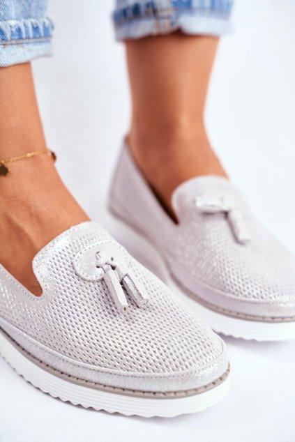 Dámske mokasíny farba sivá kód obuvi 20PB18-2043 SILVER