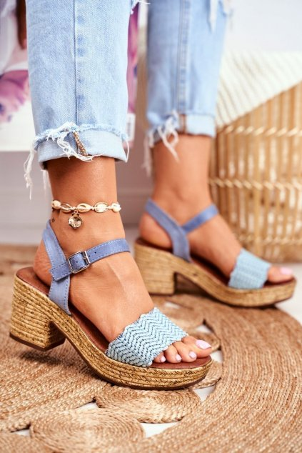 Dámske sandále na podpätku farba modrá kód obuvi 20SD98-1615 BLUE