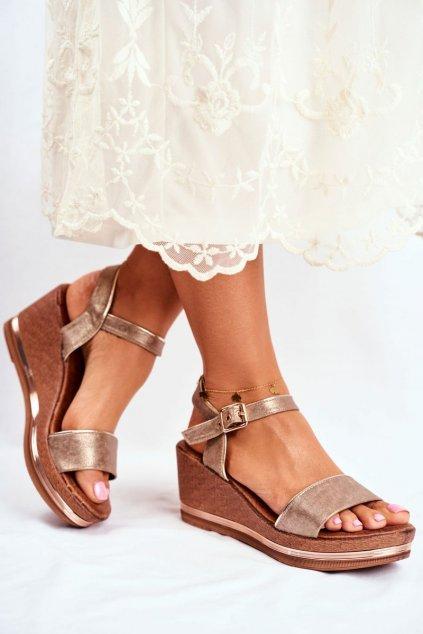 Dámske sandále na platforme farba hnedá kód obuvi 20SD98-1614 BEIGE