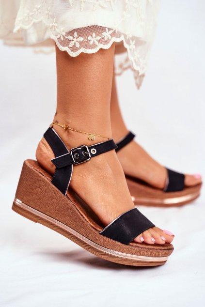 Dámske sandále na platforme farba čierna kód obuvi 20SD98-1614 BLK