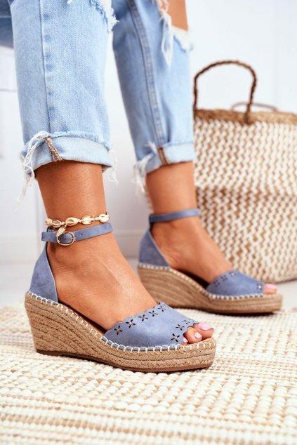 Dámske sandále na platforme farba modrá kód obuvi 9SD98-0953 BLUE
