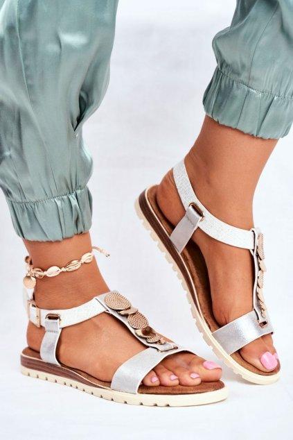 Dámske ploché sandále farba sivá kód obuvi 20SD14-2067 SILVER