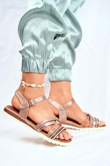 Dámske sandále s plochou podrážkou farba hnedá kód obuvi 20SD14-2062 BROWN