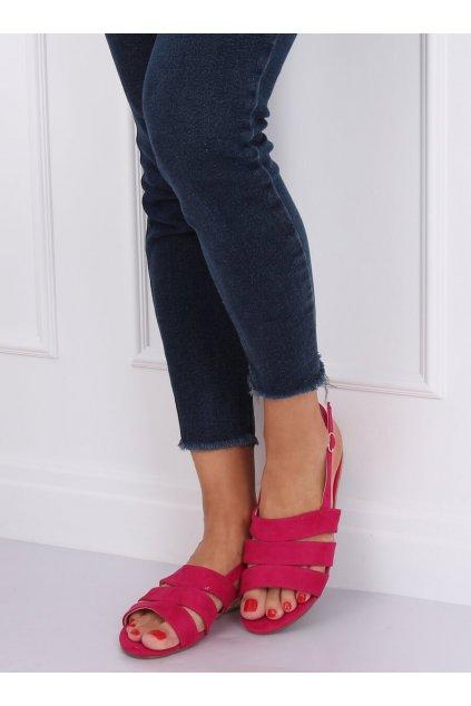 Dámske sandále ružové na plochom podpätku 9291