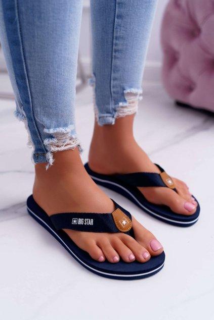 Dámske šľapky farba modrá kód obuvi DD274A254 NAVY