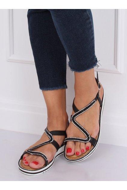 Dámske sandále s plochou podrážkou čierne na plochom podpätku ZY178