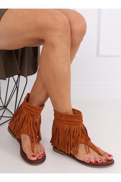 Dámske sandále hnedé na plochom podpätku NS129P