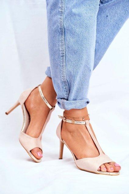 Dámske sandále na podpätku farba hnedá kód obuvi 280-58 BEIGE