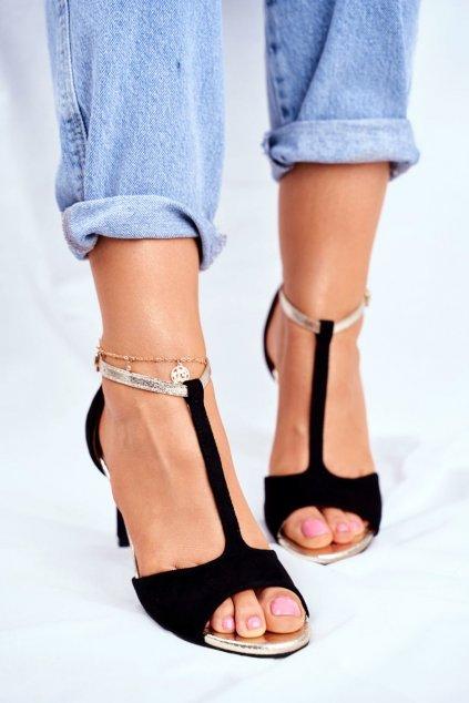 Dámske sandále na podpätku farba čierna kód obuvi 280-58 BLK