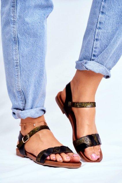 Dámske ploché sandále farba čierna kód obuvi 541-144 BLK