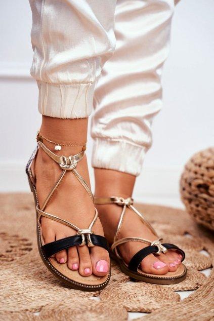 Dámske sandále s plochou podrážkou farba čierna kód obuvi LJ281 BLK