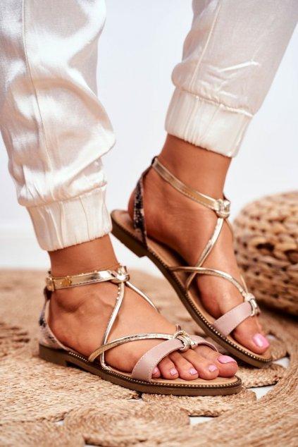 Dámske ploché sandále farba hnedá kód obuvi LJ281 BEIGE GOLD