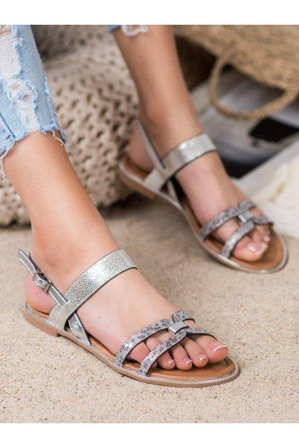 Sivé sandále s plochou podrážkou Vinceza kod MOM20-30302S