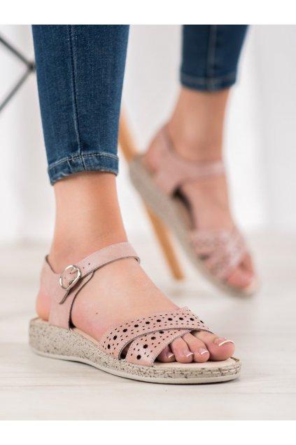 Ružové sandále s plochou podrážkou Shelovet kod B119-05-02ROSA