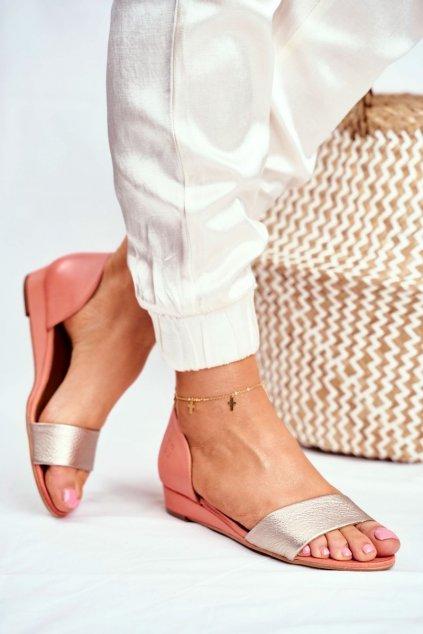Dámske ploché sandále farba žltá kód obuvi 01971-48/00-5 BRZOSKWINIA