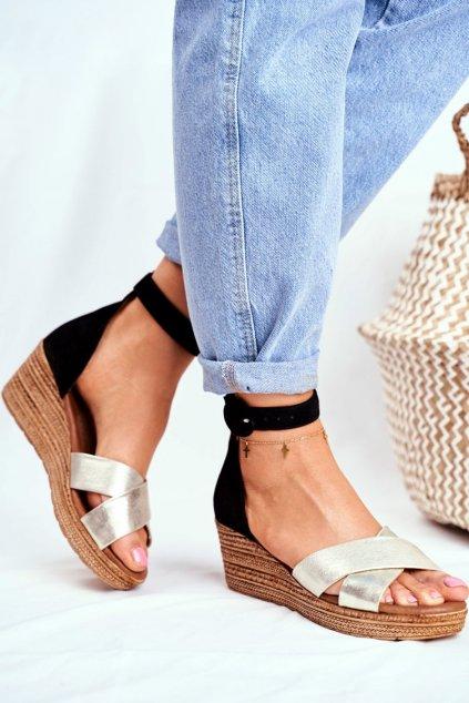 Dámske ploché sandále farba čierna kód obuvi 04565-25/00-5 ZŁOTY CZARNY