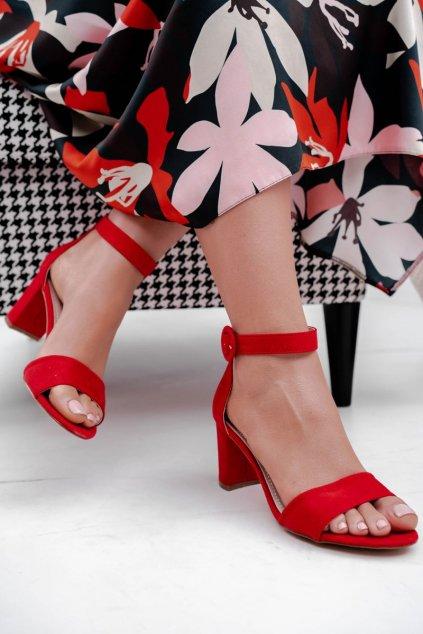 Dámske Sandále na podpätku Semišové Červené NJSK 20SD98-1617-MIC RED