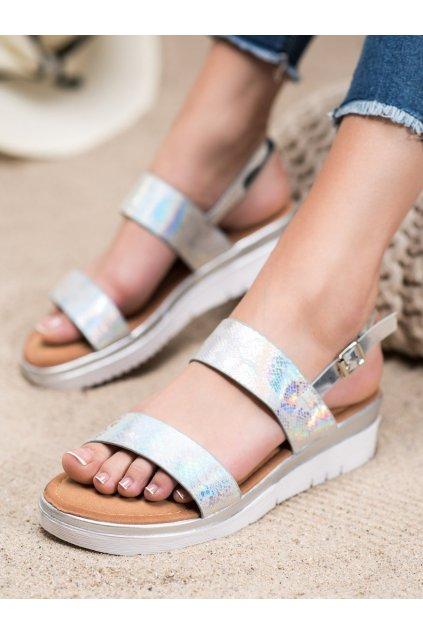Sivé sandále s plochou podrážkou na platforme Small swan kod SK-65S
