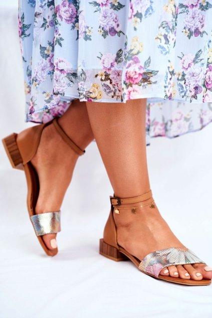 Dámske ploché sandále farba hnedá kód obuvi 04618-29/00-5 RUDY