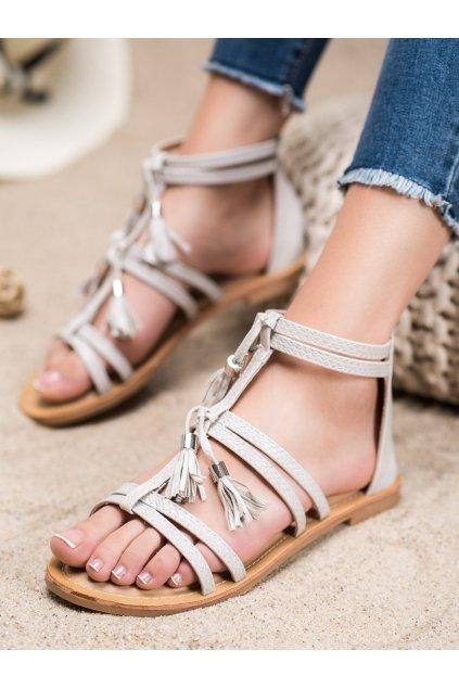 Sivé sandále s plochou podrážkou Shelovet kod JN806G