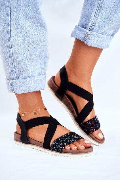 Dámske ploché sandále farba čierna kód obuvi 20SD35-0316 BLK