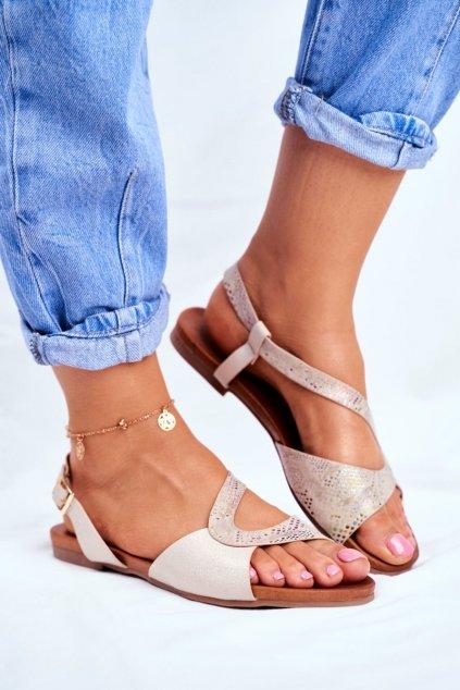Dámske sandále s plochou podrážkou farba hnedá kód obuvi 541-23 BEIGE