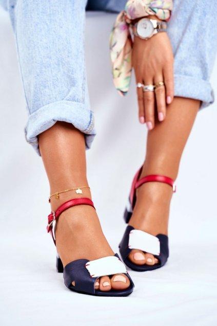 Dámske sandále na podpätku farba modrá kód obuvi 04120-17/00-5 GRANAT