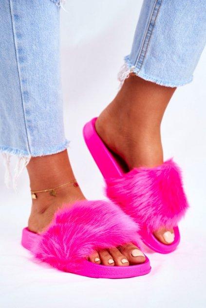 Dámske šľapky s kožušinou Neonové Ffuchsie Fur