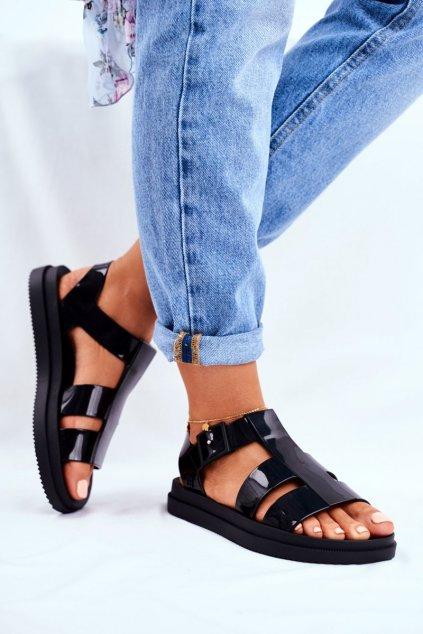 Dámske ploché sandále farba čierna kód obuvi FF285024 BLK
