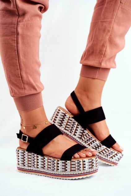 Dámske Sandále s Vysokým Podpatkem čierne Sandy