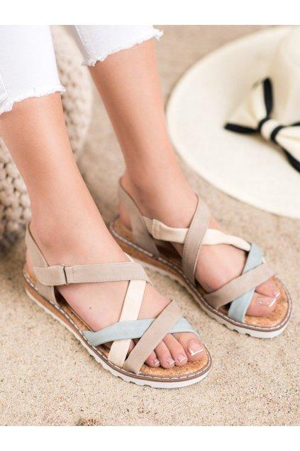 Hnedé sandále s plochou podrážkou Kylie kod K2002105BE