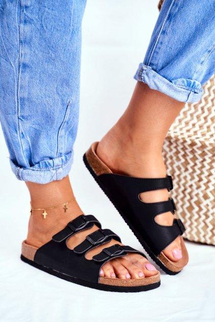 Dámske šľapky farba čierna kód obuvi FF274625 BLK