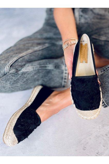 Dámske sandále čierne na plochom podpätku BB29